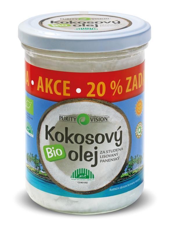 PURITY VISION kokosový olej panenský BIO, 300ml +20% zdarma