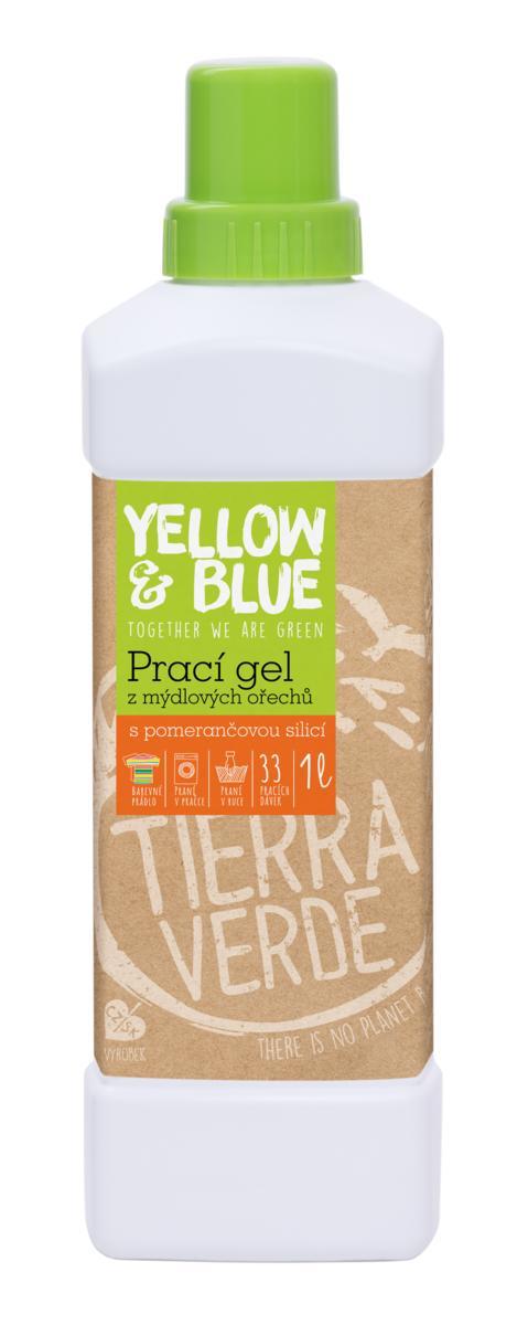 Fotografie Yellow & Blue prací gel z mýdlových ořechů s pomerančovou silicí silicí 1 l